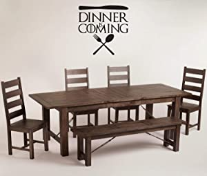 A Design World Vinyl decacls Game of Thrones Wall Decal Dinner is Coming Silverware Wall Decor Vinyl Decal Sticker - Game of Thrones Parody Kitchen Quote or Dining Room