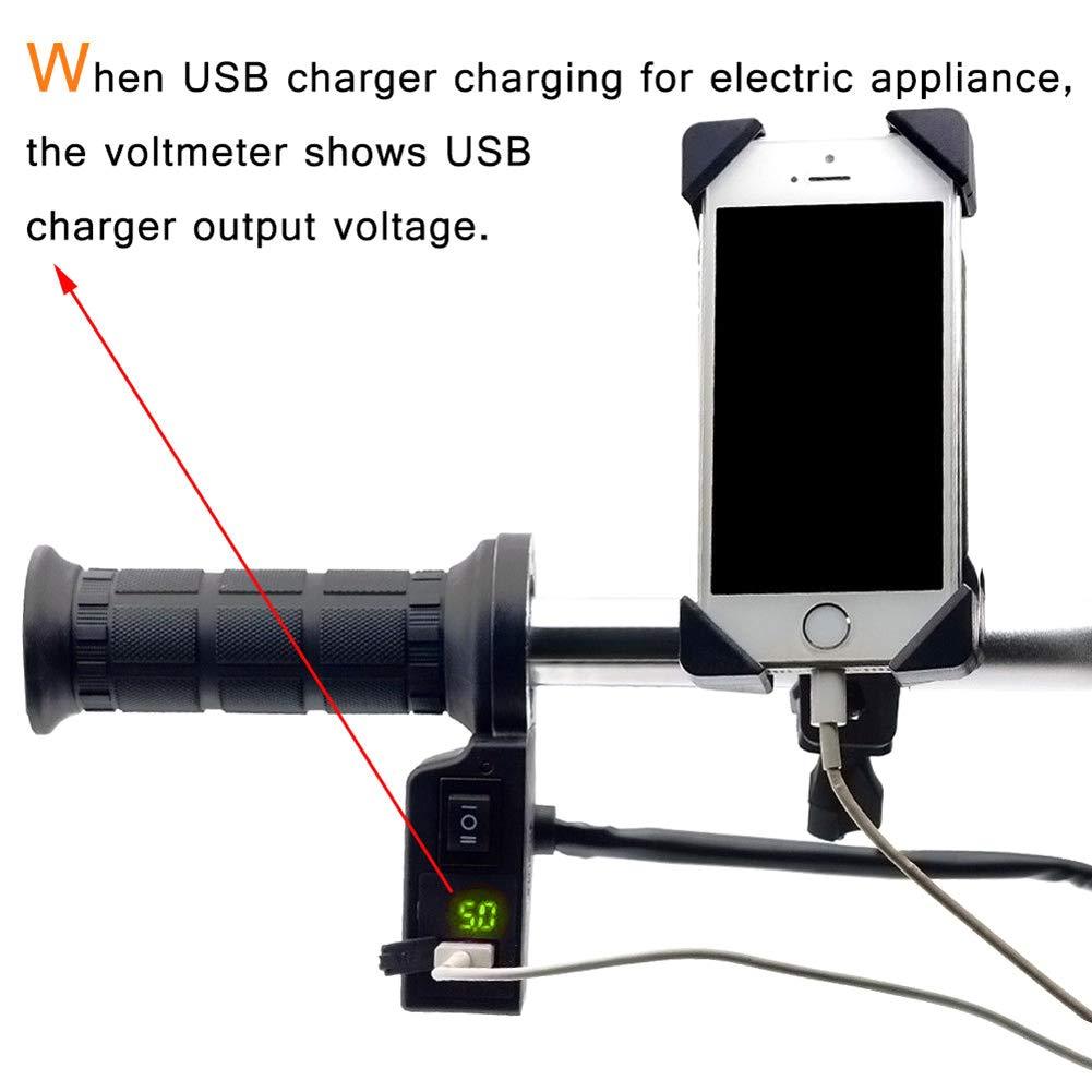 Bleu 11.9 Ajboy Poign/ées chauffantes /électriques 3 en 1 pour Guidon de Moto Chargeur USB Universel 11.3cm
