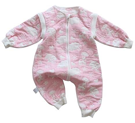 Feoya Saco de Dormir Bebé Niña Sleepwear Pijama Primavera Otoño Invierno 1-2 Años Rosa