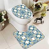 SOCOMIMI 2 Piece Toilet mat Set Decor Tunisian Mosaic Azulojo Spanish Influence Authentic Retro Islamic Blue 2 Piece Shower Mat Set
