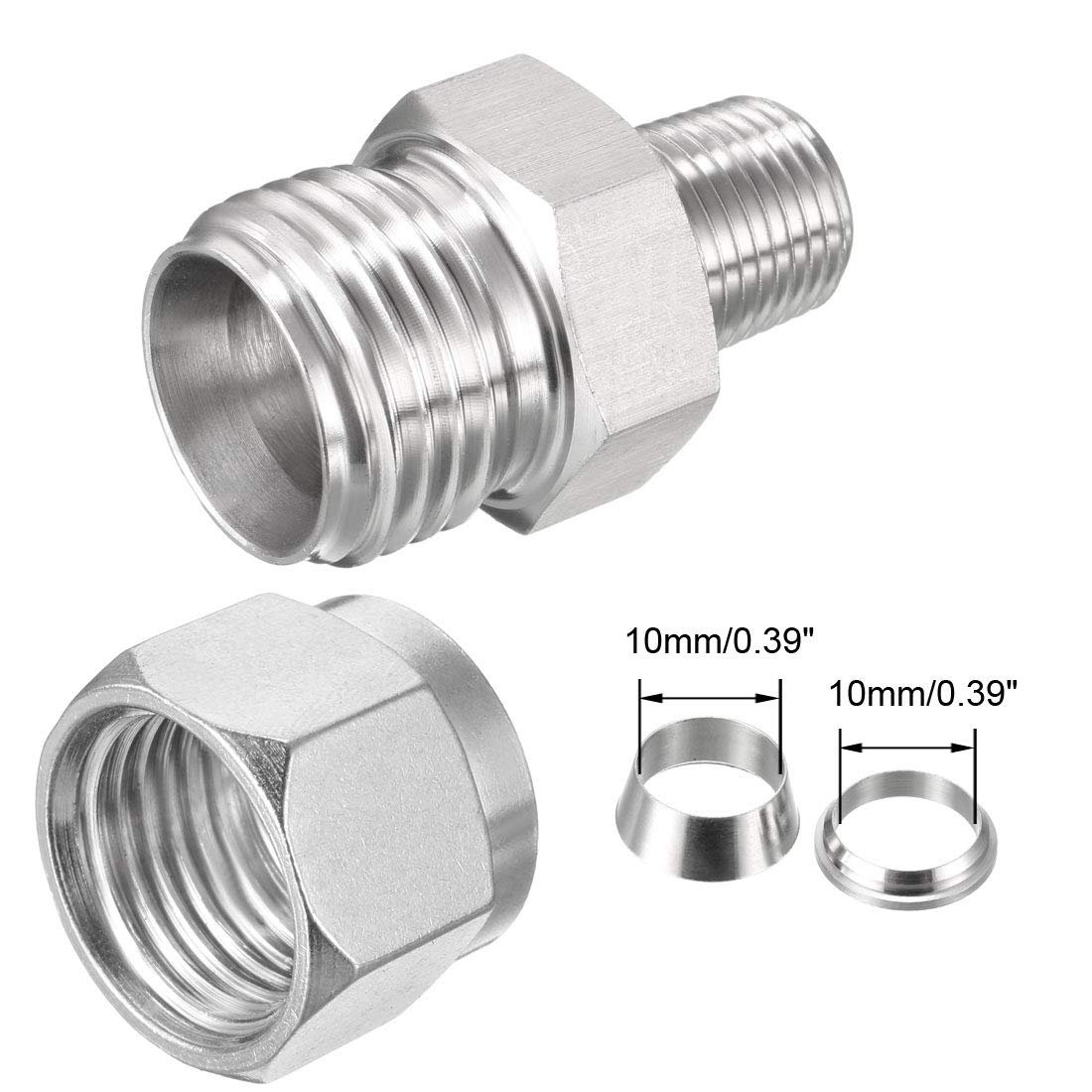 uxcell Stainless Steel Compression Tube Fitting 1//8-inch NPT Male x Ф10 Tube OD