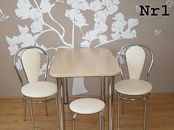 Designer Esstisch Stühle design esstisch küchentisch bistrotisch ahorn mit chromfuß 100x60