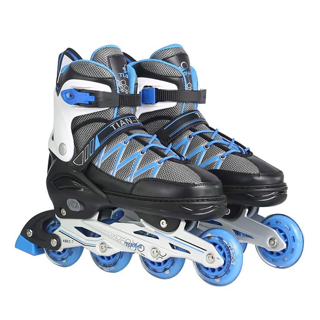 ティーンエイジャー調節可能なサイズインラインスケートスポーツレジャーローラーブレード男の子と女の子安全で丈夫なインラインスケート (Color : 青, Size : XL-EU(43-46)) 青 XL-EU(43-46)