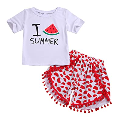f6bb4376 Pitauce 2PCs Toddler Baby Girls Cute Letter Watermelon Print Tops T-Shirt  Shorts Outfit Clothes