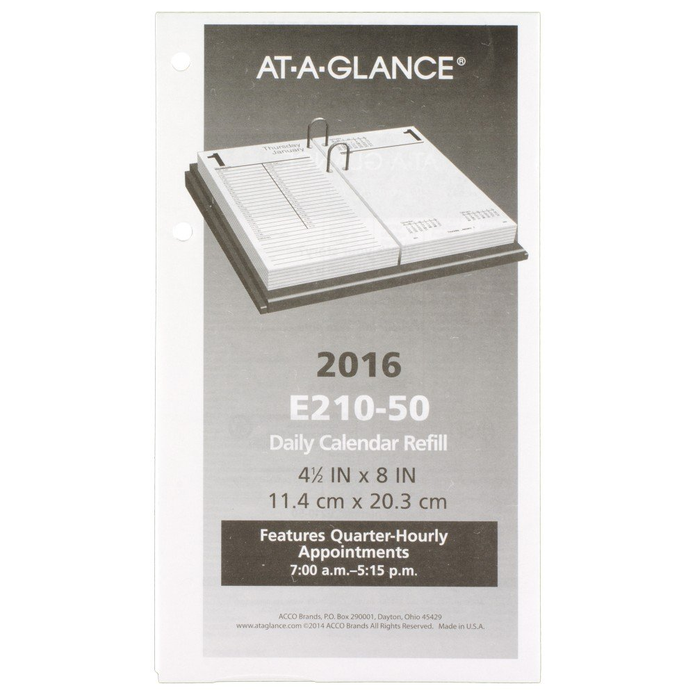 AT-A-GLANCE Daily Desk Calendar 2016 Refill, Large, 12 Months, 4.5 x 8 Inch Page Size (E21050)