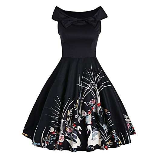 e4c0d1d72d2 DressLily Bowknot Swan Print Sleeveless Vintage Dress at Amazon Women s  Clothing store