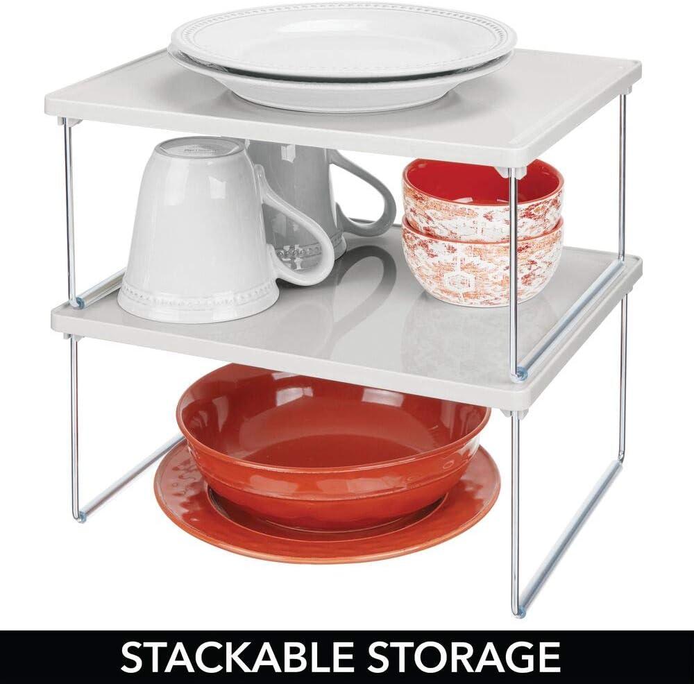 rangement cuisine autoportant pour plan de travail et placard de cuisine range vaisselle empilable avec pieds pliables en m/étal blanc mDesign /étag/ère cuisine en plastique et m/étal