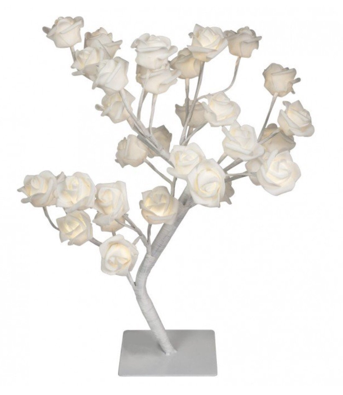 LED Artificial White Rose Twig Tree - Warm White Crown crest