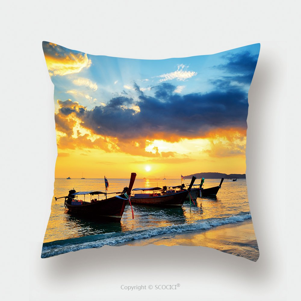 Custom Satin Pillowcase Protector Traditional Thai Boats At Sunset Beach Ao Nang Krabi Province 128638358 Pillow Case Covers Decorative by chaoran
