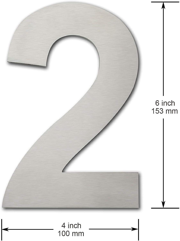 geb/ürstet modern Nummern 3 Drei Hausnummer aus massivem 304 Edelstahl 152 mm hoch schwebende Optik und einfache Montage