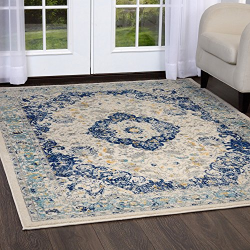Home Dynamix Vintage Channing Area Rug | Trendy Style, Distressed Finish | Durable Polypropylene Area Rug | Ivory | Fade Stain Resistant, Easy to Clean, 7'9