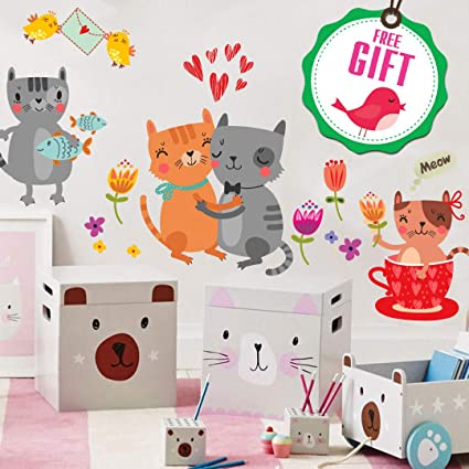 Kittens Sleeping Cute Animals Wallpaper 3D Wall Stickers Peel and Stick Wall Decals Wall Poster for Living Room Kids Bedrooms Nursery Wall Art Decor