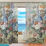 ALAZA 2PCS Window Decoration Sheer Curtain Panels,Euro Style Art Vintage Floral Oil Painting,Window Gauze Curtains Living Room Bedroom Kid's Office Window Tie Top Curtain 55×78 inch Two Panels Set For Sale