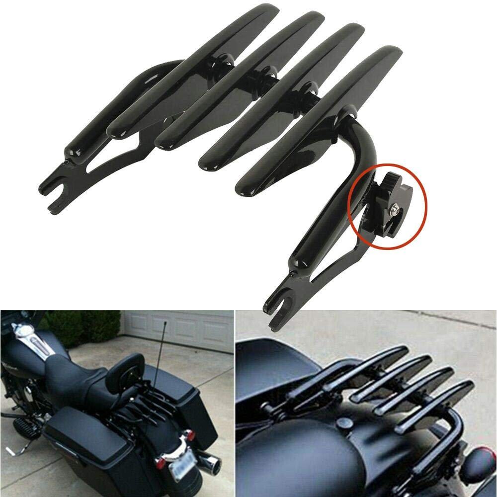 RYCYCLE Black Quick Detach Two-up 2 Up Stealth Luggage Rack for Harley Davidson Touring Street Road Glide Road King Electra Glide 2009 2010 2011 2012 2013 2014 2015 2016 2017 2018 2019
