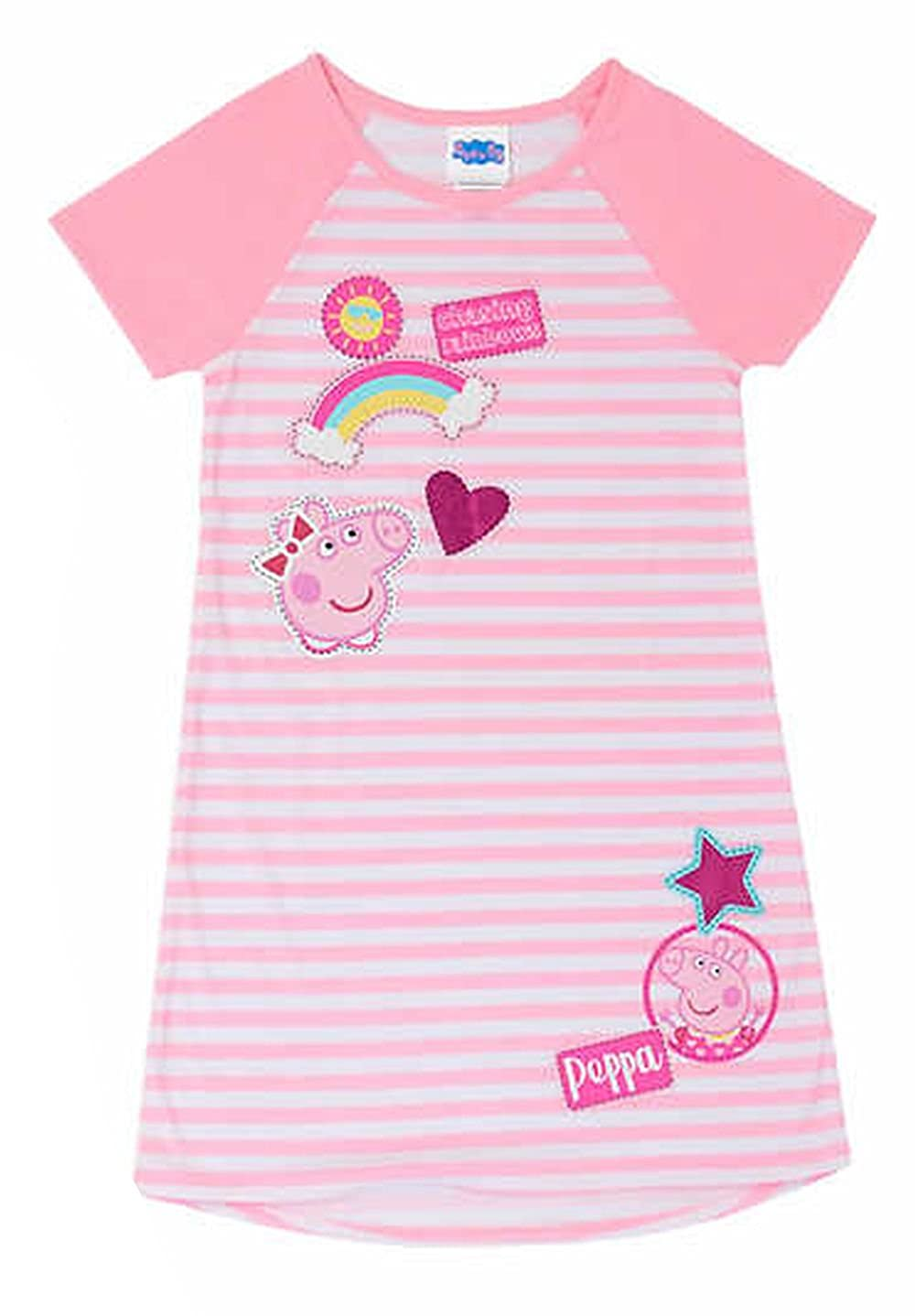 65ac1f742 Amazon.com: Komar Kids Peppa Pig Pink Striped Chasing Rainbows Nightgown,  Gown: Clothing