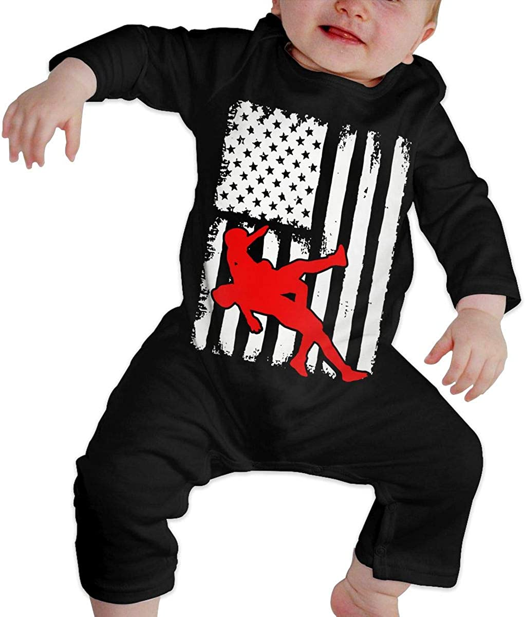 YELTY6F USA Flag Wrestling Printed Newborn Baby Boy Girl One-Piece Suit Long Sleeve Rompers Black