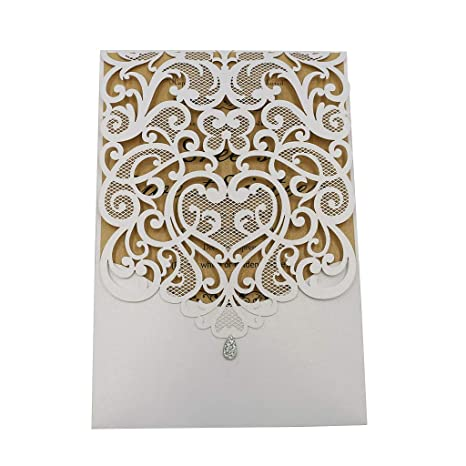 Laser Cut Wedding Invitations Kits 50 Packs FOMTOR With Blank Printable Paper