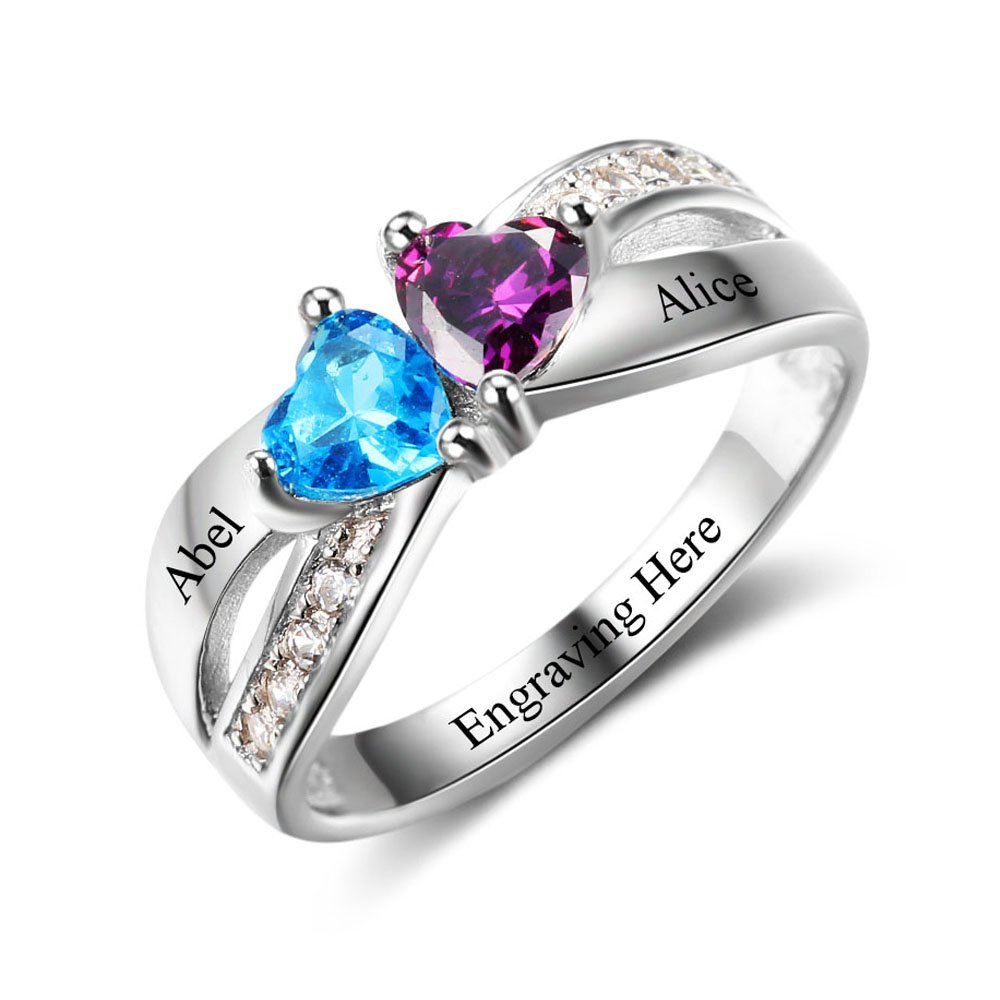 Diamondido Personalized Promise Heart Rings with Simulated Birthstones Engraved Names Engagement Rings for Her RI102504