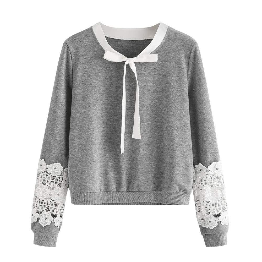 Women Blouse, Farjing Lace Top Long Sleeve Blouse Sweatshirt Pullover Casual Tops Shirt(XL,Gray)