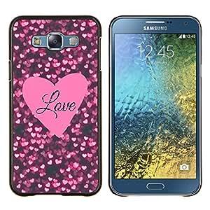 Stuss Case / Funda Carcasa protectora - Texto corazón rosado Negro Sparkle - Samsung Galaxy E7 E700