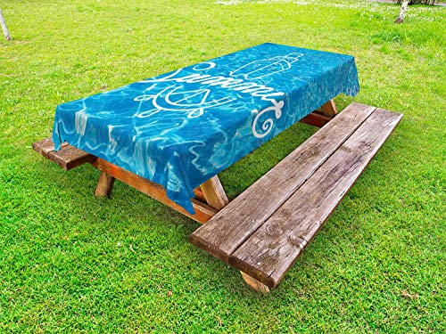 Ambesonne Pool Party Outdoor Tablecloth, Marine Themed Summer Typography on Rippling Water Ship and Wheel Pictogram, Decorative Washable Picnic Table Cloth, 58