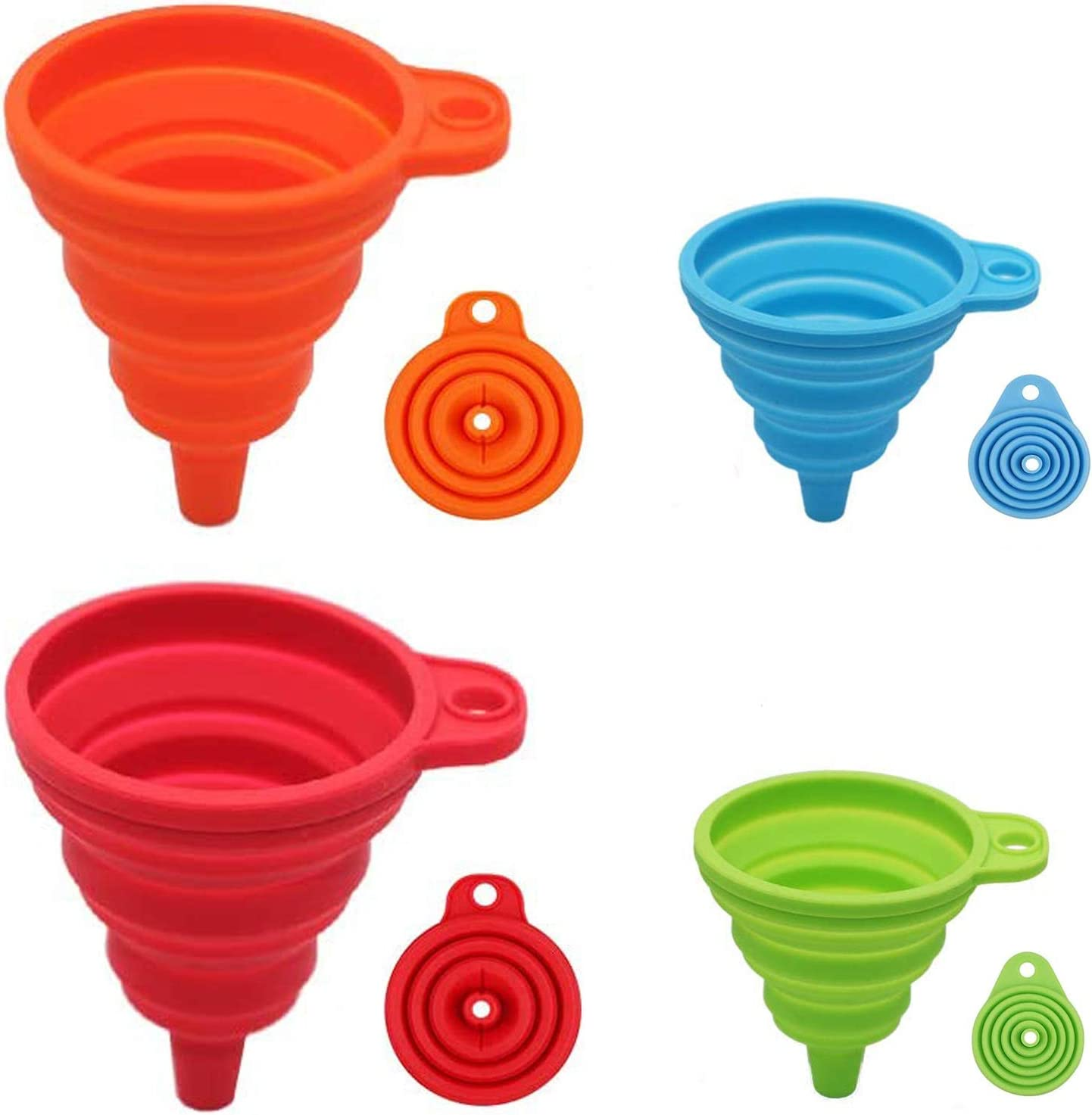Silicone Collapsible Funnel,Large and Small,4 Pcs Flexible Silicone Foldable Kitchen Funnel Set for Filling Food,Water Bottle Liquid Transfer,Portable Food Grade Funnels for Filling Bottles (4 Color)