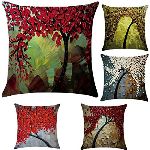5 Pack Oil Painting Cotton Linen Throw Pillow Case Cushion Cover Home Sofa Decorative 18 X 18 Inch ()
