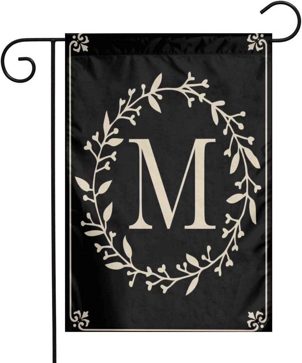 MSGUIDE Classic Monogram Letter M Garden Flag Flower House Yard Decoration 12x18 Inch for Outdoor Balcony