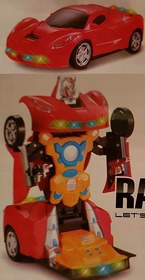 Robot Race Car Transformer Motor Fun Toy Kids Boys Girl Xmas Gift Battery 2 in 1