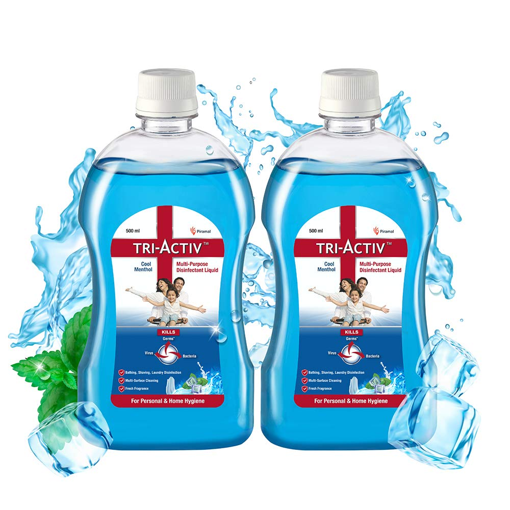 Tri-Activ Disinfectant Liquid for Multipurpose use for Personal Hygiene and Home Cleaning 500ml Cool Menthol, Blue, 2 count