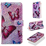 Case for iPhone 6S Plus/6 Plus/7 Plus/8 Plus,Bling PU Leather Kickstand Wallet Inner TPU Bumper with Strap Magnetic Kickstand Compatible with Apple iPhone 6S Plus/6 Plus/7 Plus/8 Plus -Butterfly