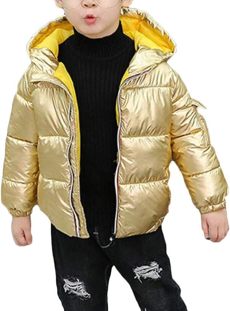 Bigbarry Boy Winter Metallic Thicken Hooded Quilted Parka Coat Jacket
