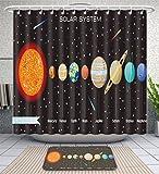 Unique Custom Bathroom 2-Piece Set Planets Set On Dark Background Our Solar System Shower Curtains And Bath Mats Set, 71''Wx71''H & 31''Wx20''H