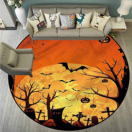 Living Room Round Rugs,Halloween,Grungy Graveyard Cemetery,Easy Clean Rugs,4'7