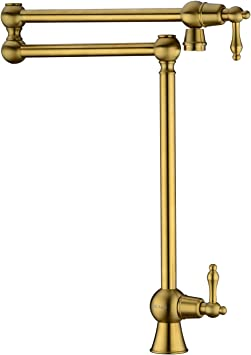 Gicasa Solid Brass Deck Mount Pot Filler Faucet Brushed Gold Pot Filler Folding Faucet Stretchable Double Swing Joint Single Hole Two Handle Kitchen Sink Faucet Amazon Com