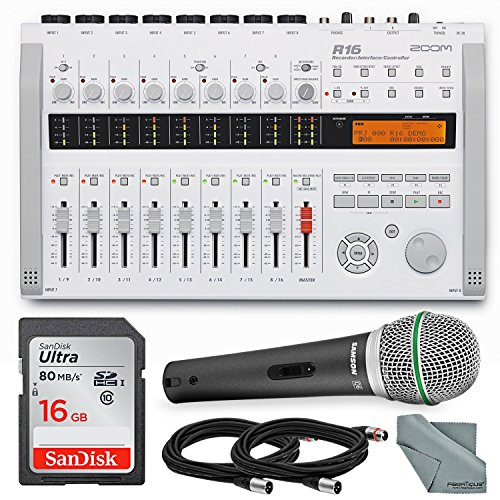 Zoom R16 Multi-Track Recorder & Mixer, Computer Interface & Controller Bundle with Q6 Mic + Cable + 16GB + FiberTique Cloth ()
