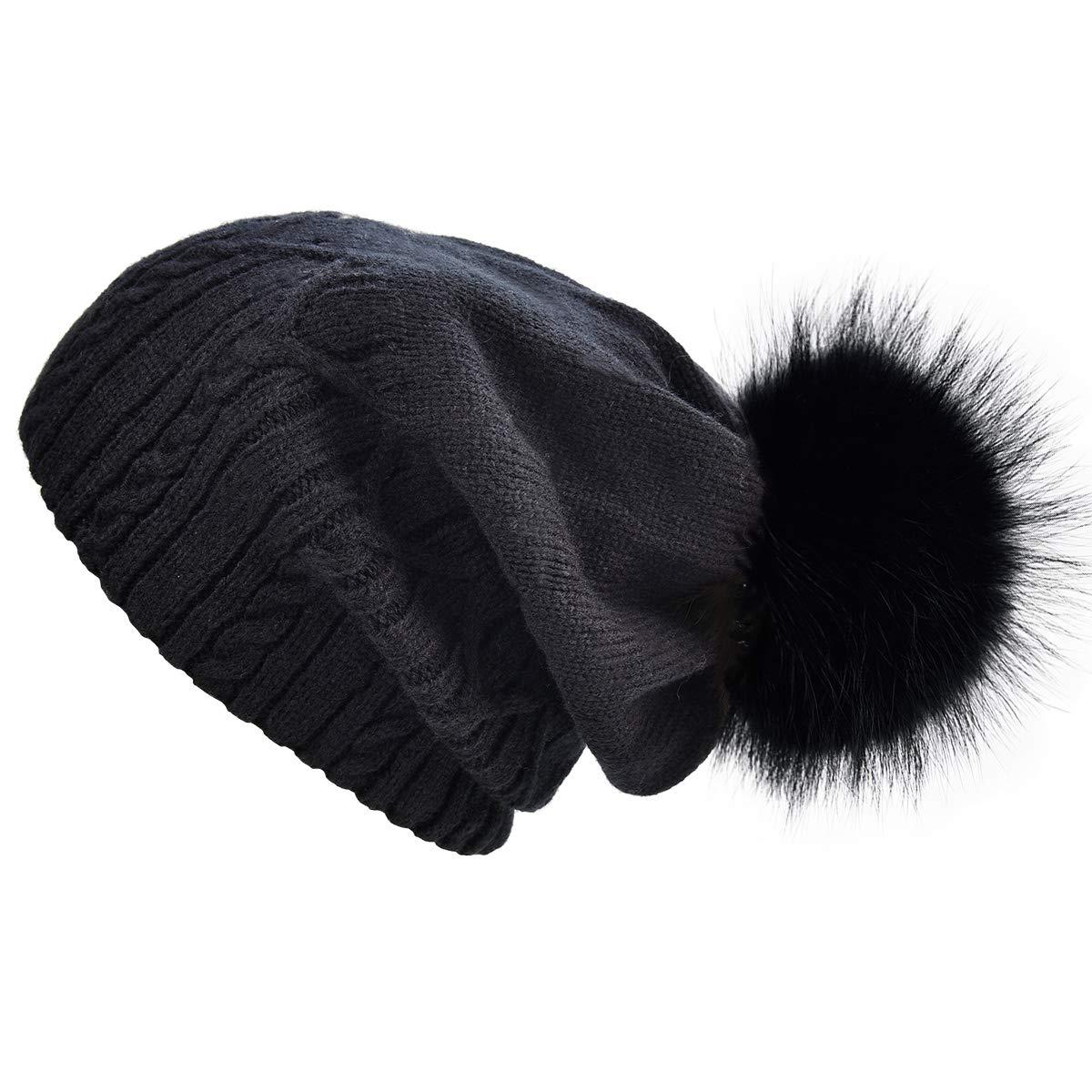 Black+black Racoon Pom Pom SOMALER Winter Hats Women Real Fur pom pom Beanie Slouchy Beanies Kintted hat 6 colors