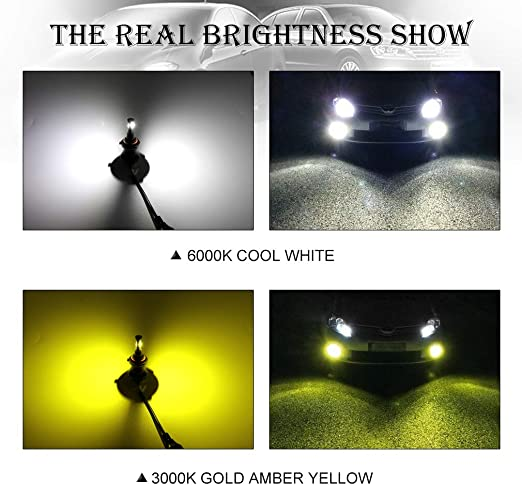 Kairiyard 880 881 LED Fog Lights Bulb Yellow Amber 3000K+6000K White Dual Color 55W 3600 Lumens CSP Chip Extremely Bright Automotive DRL 880 881 LED Fog Lights Replacement Pack of 2