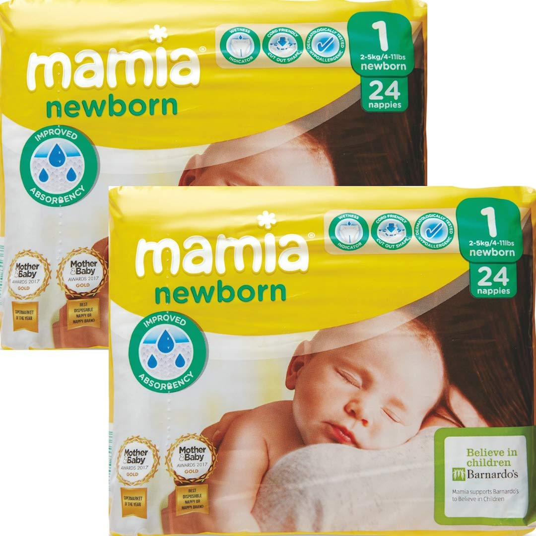 ALDI Mamia Newborn Nappies, Size 1, 2 x Packs of 24 (48 Nappies) Unknown