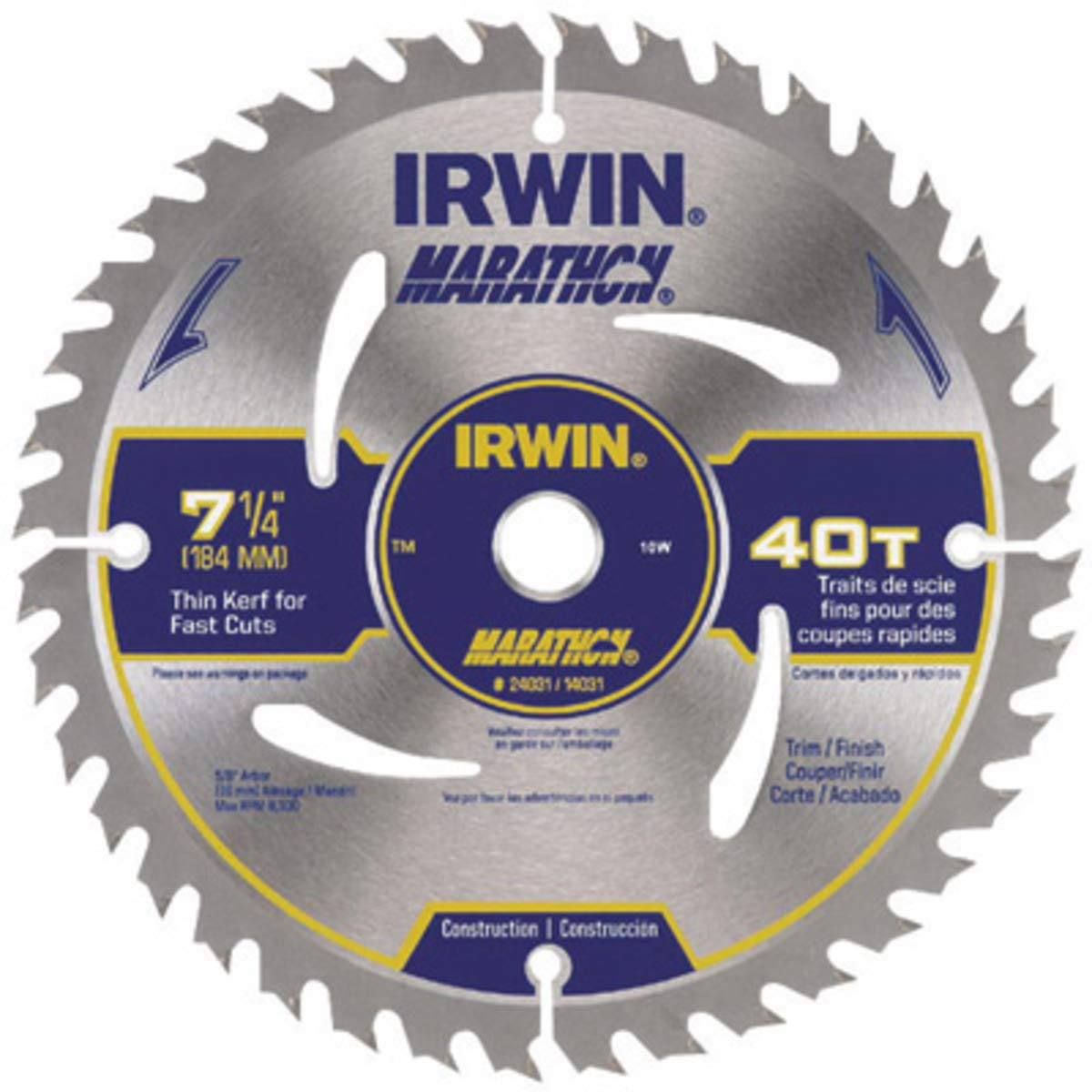 IRWIN 7 1/4'' X 5/8'' Diamond X .047'' 8300 RPM 40 Teeth ATB Grind Vise,Grip Marathon Carbide Tipped Portable Corded Circular Saw Blade (For Wood Cutting) (Carded),5 Each