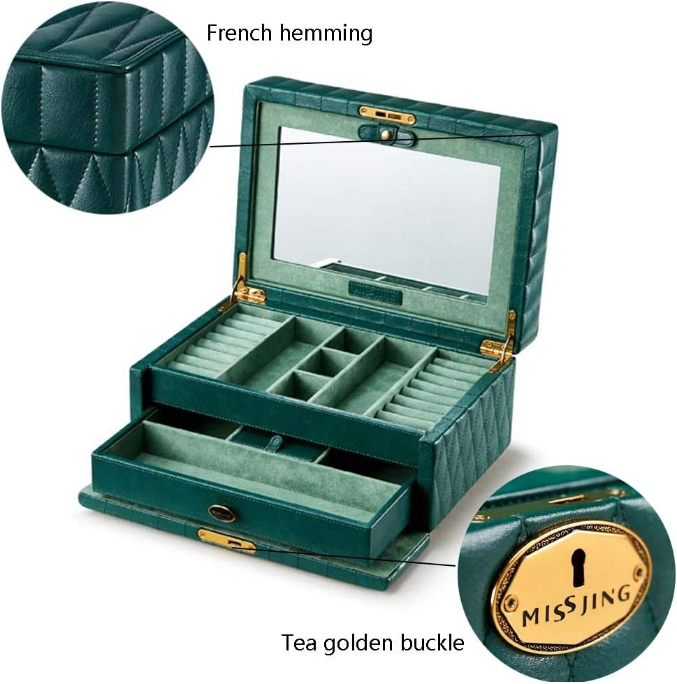 ジュエリー収納 ジュエリーボックス/収納オーガナイザー/ハイエンドの高級レザージュエリーボックス/大容量のロック付きジュエリー収納ボックス (Color : Green, Size : 30*21*16cm)