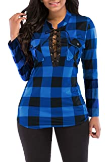 7857a304be6 KISSMODA Women's Sexy Fitted Plaid Shirt 3/4 Sleeves Blouses V Neck Tie  Front Tops