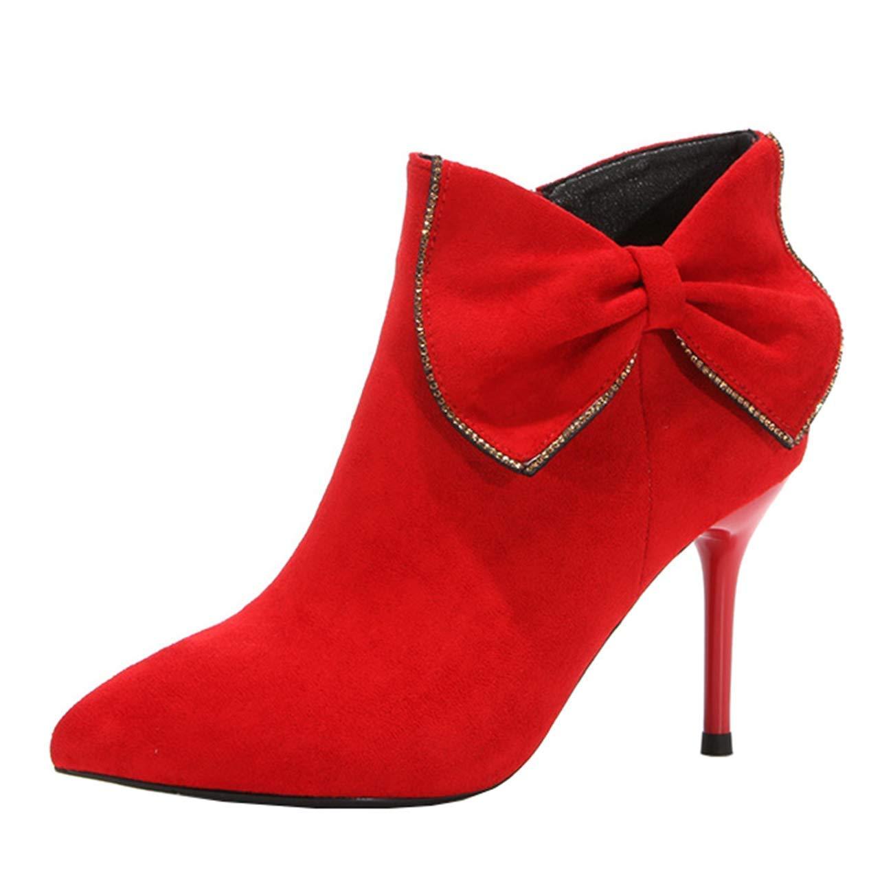Eeayyygch Frauen Spitz-Toe Stiletto Zip Bowknot Stiefeletten (Farbe   Rot, Größe   3 UK)