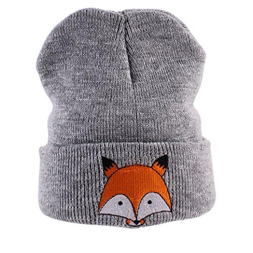 potato001 Winter Warm Newborn Toddlers Baby Girls Boys Fox Pattern Knitted Hat Beanie Cap (Grey)