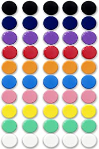Qualsen Office Magnets 50 Pack, Heavy Duty Round Refrigerator Whiteboard locker Magnets (Plain)