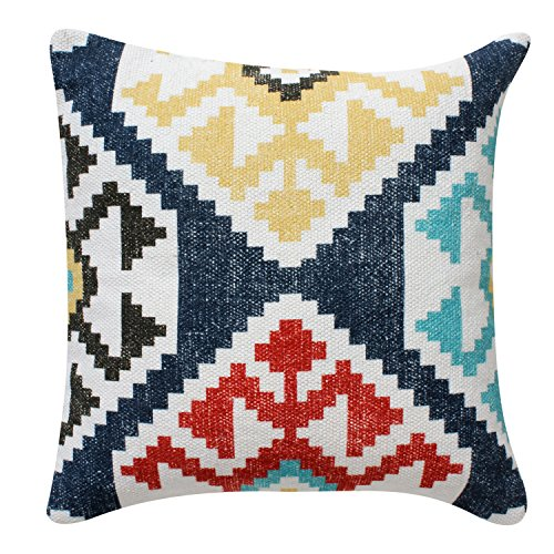 ThymeHome Modern Kilim Printed Hand Woven Dhurri Pillow :- 100% Cotton Decorative Accent Pillows 18 x 18 Inch Multicolor