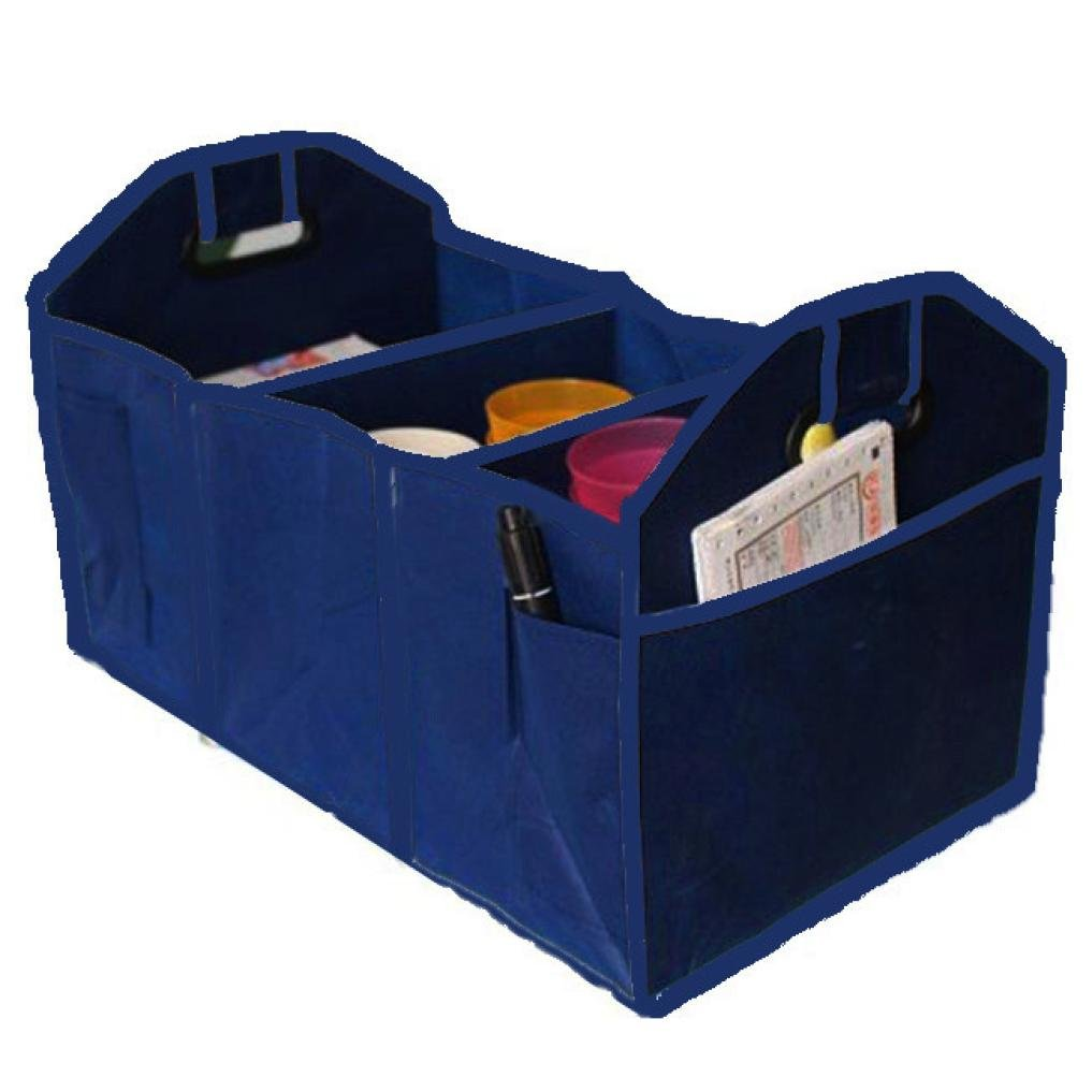 3 Compartment Car Trunk Collapsible Storage Basket Organizer car bin tidy compact for back of car large LHWY