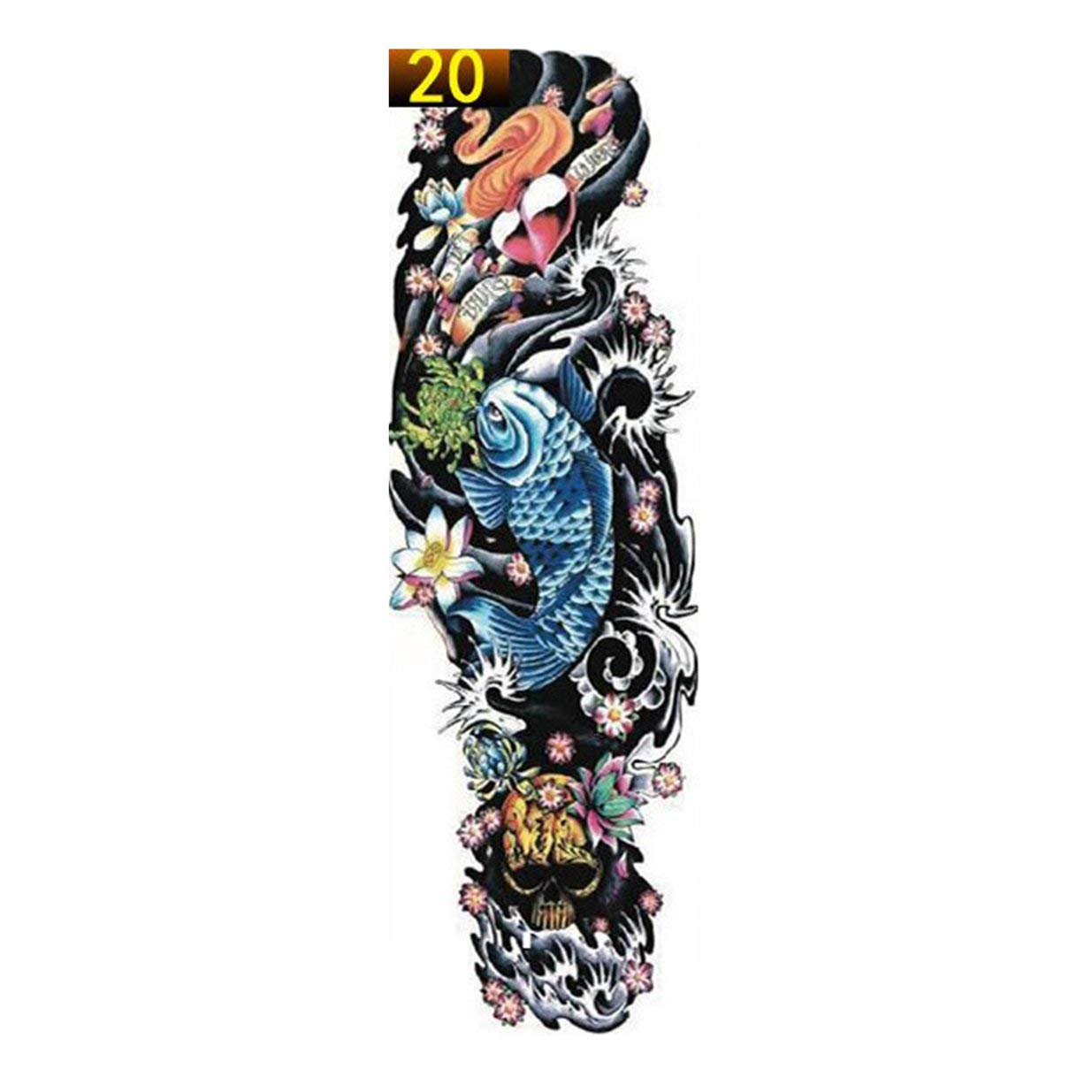 banbie8409 1 UNIDS Brazo Completo Etiqueta Engomada del Tatuaje de la Flor Impermeable Tatuaje Temporal Manga Hombres Mujeres Pintura Corporal Transferencia de Agua Fake Tatoo Manga