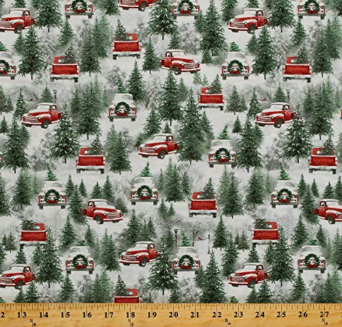 Cotton Christmas Tree Farm Red Trucks Snow-Covered Trees Winter Holiday Wishes Cotton Fabric Print by The Yard (6928-86)