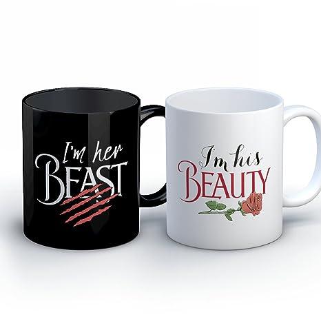 amazon com couples coffee mug his beauty her beast funny 11 oz